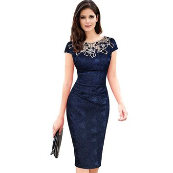 PLUS SIZE 3XL Rose lace crew neck dress dinner women evening dress midi dresses