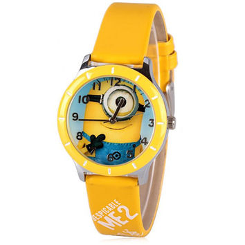 Unique Quartz Watch with Analog Indicate Bee-do Pattern Leather Watch Band for Women