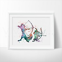 Robin Hood Watercolor Art Print