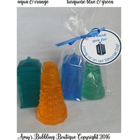 Dr Who Birthday Party Favors - Dalek & Tardis Soap Favors for Guest Bath or Geek Birthday Party Favors optional tags,  Pack of 10