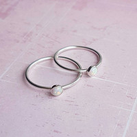 Silver opal ring, delicate ring, stacking ring, sterling silver ring, skinny ring, birthstone ring, gemstone ring, solitare ring