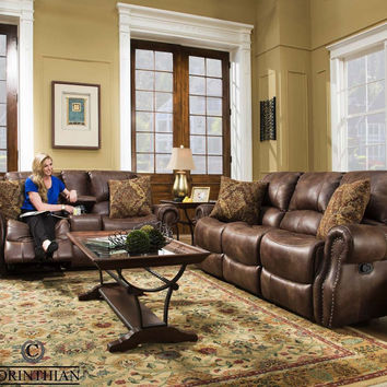 Waylon Mocha Glider Reclining Sofa and Loveseat