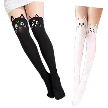 Hot Anime Sailor Moon Cosplay Costume Women Luna Cat Socks Pantyhose Silk Tights Leggings Stockings Black And White Free Ship Macchar Cosplay Catalogue