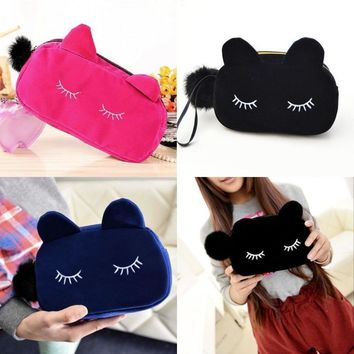Cartoon Cat Coin Travel Makeup Flannel Pouch Cosmetic bag