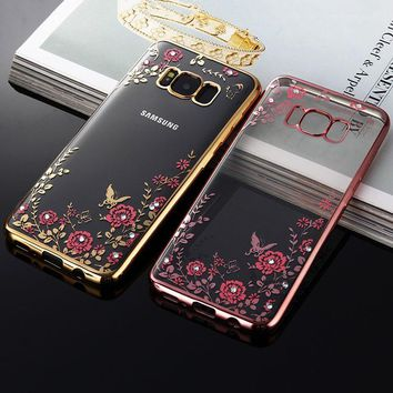 Flower Bling Diamond Case For Samsung Galaxy S8, S8 Plus Soft Clear Tansparent Phone Back Cover