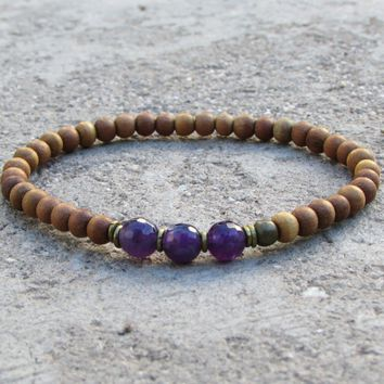 Focus - Seventh Chakra, Sandalwood and Genuine Amethyst Mala Bracelet