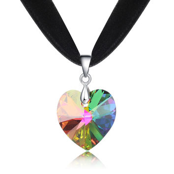 2016 Valentine's gift for women 12 colors 10mm black Velvet ribbon collar necklace with Genuine Swarovski crystal heart pendant
