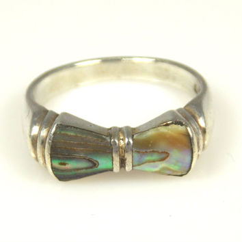 Vintage Sterling Silver Abalone Accented Bow Ring Size 6