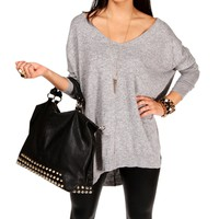 Gray Dolman Knit Sweater