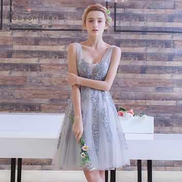 Vestido de Festa Curto Mini Lace Short Homecoming Dresses 2018 Tulle Appliques V Neck Ball Gown Lace-Up 8th Grade Formal Dresses