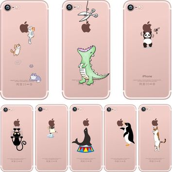 ciciber Phone Cases Cute Animals Spoof Crocodile Cat Panda Penguin Soft Silicon Case Cover for IPhone 7 6 6S 8 Plus 5S SE X Capa
