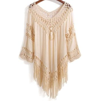 Cover ups Bikini Miracle Tassel beach  breathable hollow shirt camisas mujer camisa mujer cold shoulder tops mujer womens tops 2017 KO_13_1