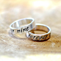 Forever mine forever thine sterling silver ring set or weddings bands