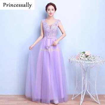 Lavender Bridesmaid Dresses Long V-neck Lace Embroidery Robe De Soiree New  Bridesmaid Dresses A-line Sexy Bride Party Gown