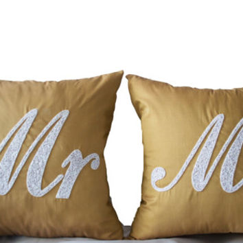 Mr Mrs Pillows -Decorative Pillows -Accent Pillows -Wedding Pillows -Gold White Pillows -Gift -16x16 -Sequin Pillows -Anniversary Pillows