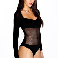 Isobel Twist Front Fish Net L/S Bodysuit