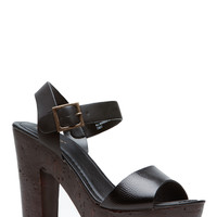 Black Strapped Wooden Clog Heels