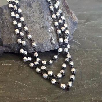 Long Double Strand Sparkly Silver Black Rosary Chain Bead Necklace