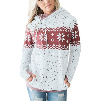 Chicloth White Double Hood Snowfall Print Sweatshirt