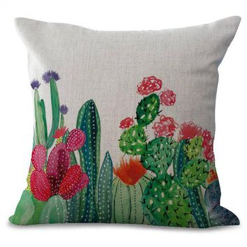 Hand Painted Tropical Succulent Plants Cactus Decorative Cotton Linen Pillow Cover Home Sofa Chair Green Cushion Cover
