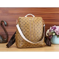 LV Louis Vuitton Fashion Women Monogram Leather Travel Bookbag Shoulder Bag Double Zipper Backpack Yellow LV Print I-WMXB-PFSH