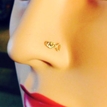 Fish Nose Ring Stud 24 gauge in gold rose gold or by bijoufish