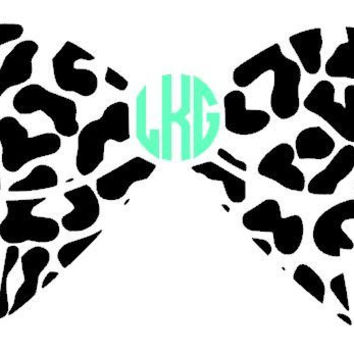 Leopard Print Bow with Monogram