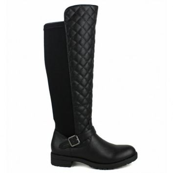 Travis-09 Black Knee high Quilted Riding Boots