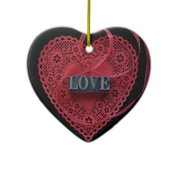 Red heart doily with love word heart ornament