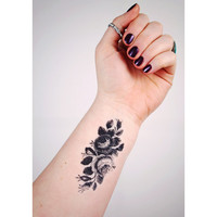 Small vintage roses temporary tattoo