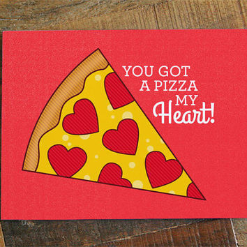 Pizza Love Card - Pizza pun card, pizza my heart, pizza greeting card, anniversary card, romantic card, valentines day card, funny pun card
