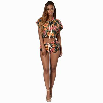 Hot Selling Sexy Two Pieces Pattern Floral Women Playsuit Short Sleeve Hoody Crop Top  Skinny  Short Pants Women Jumpsuit Romper
