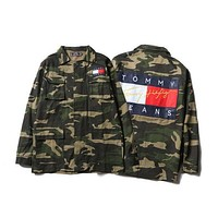 """Tommy Hilfiger"" Men/Women Camo Denim Cardigan Jacket Coat"