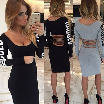 New Arrival Winter Bandage Dress Women Square Collar Sexy Party Dresses Full Sleeve Letters Print Bodycon Plus Size Hollow Dress