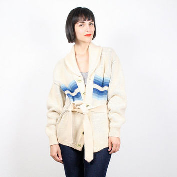 Vintage Hippie Sweater Wrap Sweater Belted Sweater Jumper Cardigan Coat Cream Ivory Blue Brown Southwestern Navajo Knit Boho Ethnic L Large