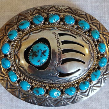 Bear Paw Belt Buckle- Sterling Silver and Turquoise Stones- Signed WILBUR MUSKETT- Vtg Navajo Jewelry- Large Unisex Belt Buckle