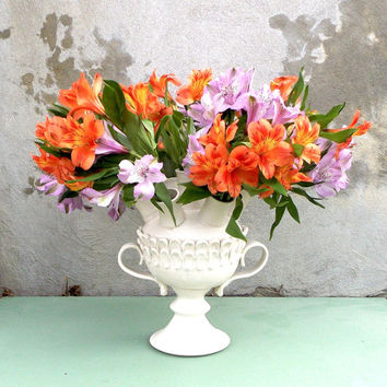 Hand Made Large Ceramic Tulip Vase, Decorative Flower Vase in Matte White, Large Flower Display Vase, Ready to Ship