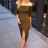 Army Green Slit Midi Dress