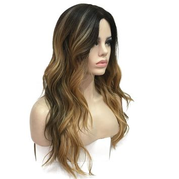 Synthesis Natural Long Wavy Brown/Blonde Highlights Full Wig