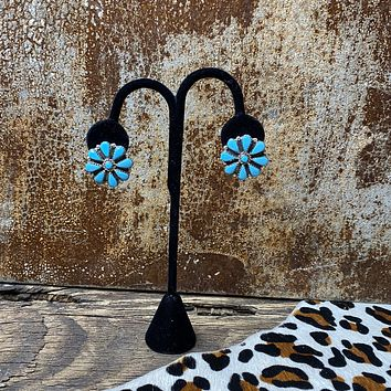 Genuine Turquoise 9 Stone floral Earrings