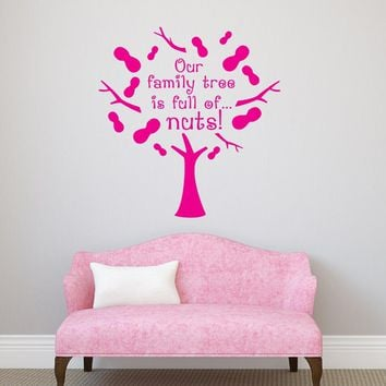 High Quality Quote Wall Decal Our Family Tree Is Full Of Nuts Funny Vinyl Wall Stickers Removable Tree Pattern Home Decor SY14
