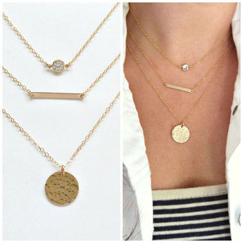 Gold Layered Necklace Set of 3 CZ Skinny Mini Bar Hammered Disc Bridesmaid Jewelry Girl Friend Gift Artisan Group