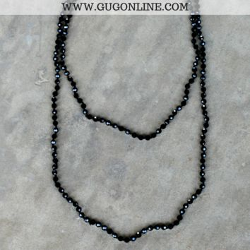 60 Inch Long Layering Crystal Strand Necklace in Black