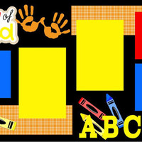NEW!! 1st Day of Preschool 2-page 12 X 12 Premade Scrapbook Layout