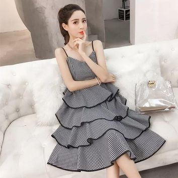 MingJieBiHuo Fashion womens dresses new arrival summer dress spaghetti Strap black and white plaid Cascading Ruffle cake dress