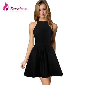Berydress New Arrival Womens Cute Wedding Cocktail Sexy Nightclub Halter Neck Blackless A-Line Black Dress Short 2017