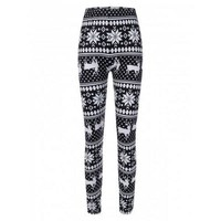 Christmas Snowflake Reindeer Print Leggings - White And Black One Size