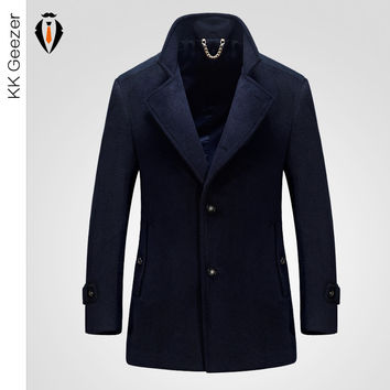 Winter Fashion Men Wool Blends Cashmere Coat Long Section Woolen Coat Duffle Overcoats Jackets Mandarin sleev Business