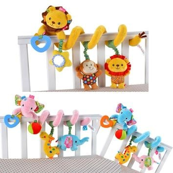 Educational Toddler Toys Baby Plush Animal Rattle Mobile Infant Stroller Bed Crib Spiral Hanging Toys for Baby Toys 0-12 Months
