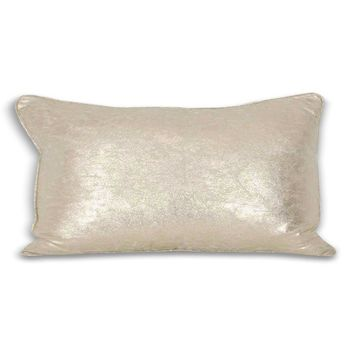 Rectangular Crackle Metallic Pillow - Gold